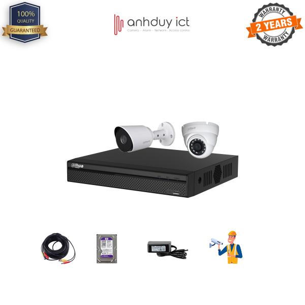 Lắp Đặt Trọn Bộ 2 Camera Full HD 2MP Dahua