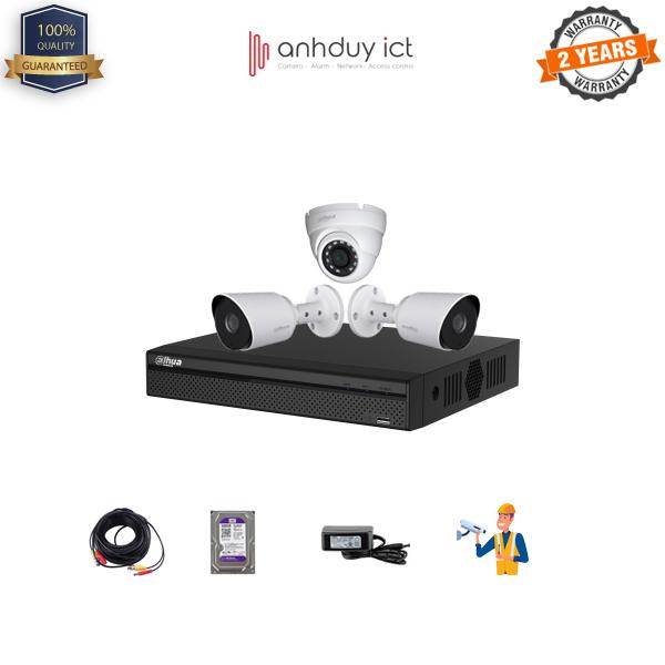 Lắp Đặt Trọn Bộ 3 Camera Full HD 2MP Dahua