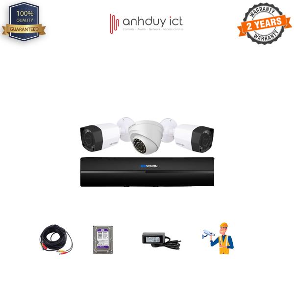 Lắp Đặt Trọn Bộ 3 Camera HD 1MP KBvision